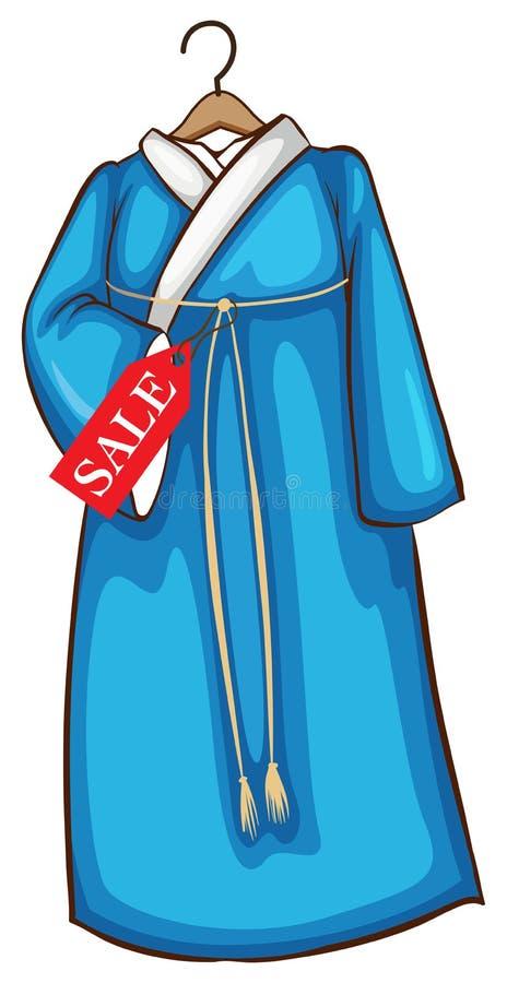 Un bosquejo simple de un vestido asiático azul libre illustration