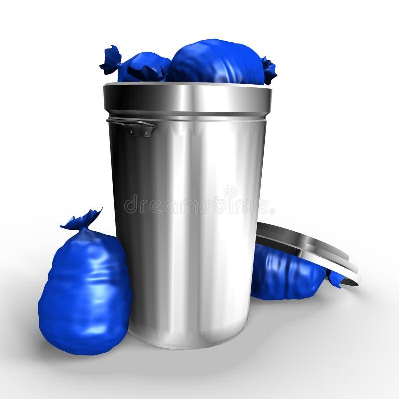 Un bote de basura metálico lleno - una imagen 3d stock de ilustración