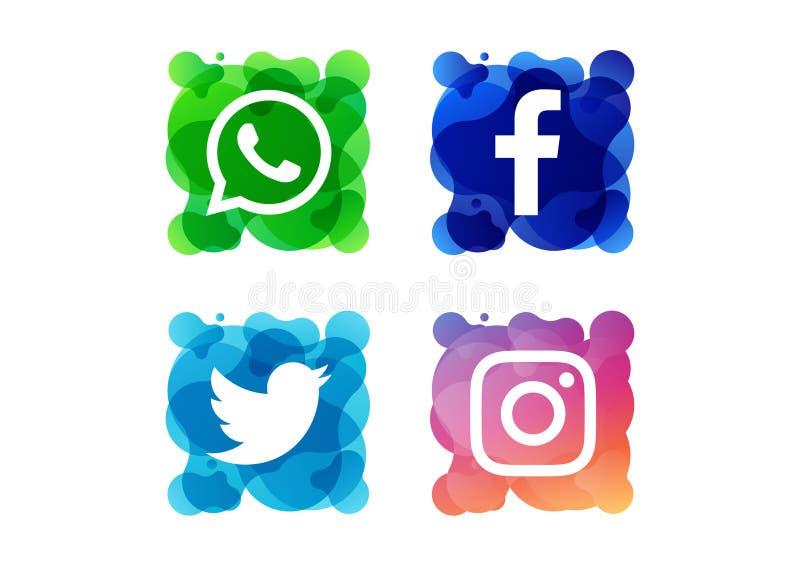 Un bottone sociale variopinto dell'icona di media fotografia stock libera da diritti