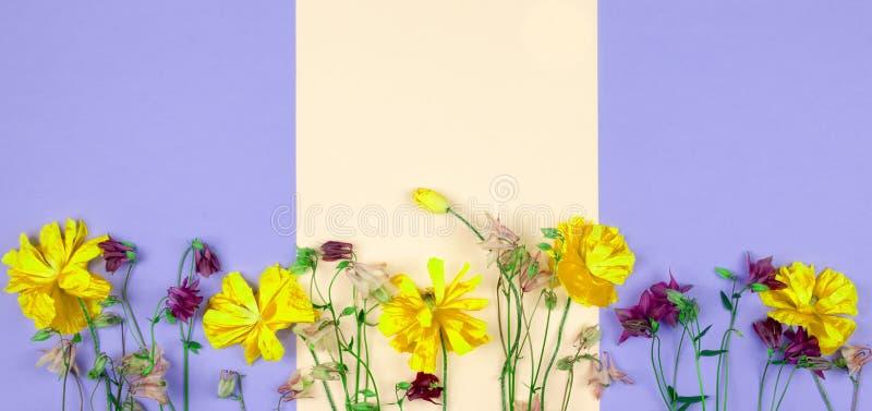 Un bouquet d'or abstrait et des fleurs pourpres sur un fond de couleur en pastel images stock