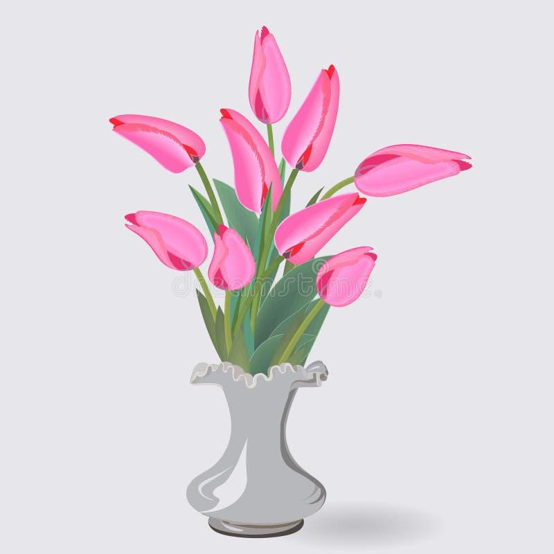 Un bouquet de neuf tulipes roses dans un petit vase blanc illustration de vecteur