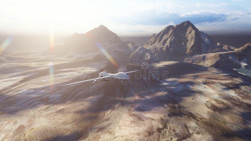 Un bourdon militaire vole au-dessus d'une plaine abandonn?e un jour ensoleill? rendu 3d photos libres de droits