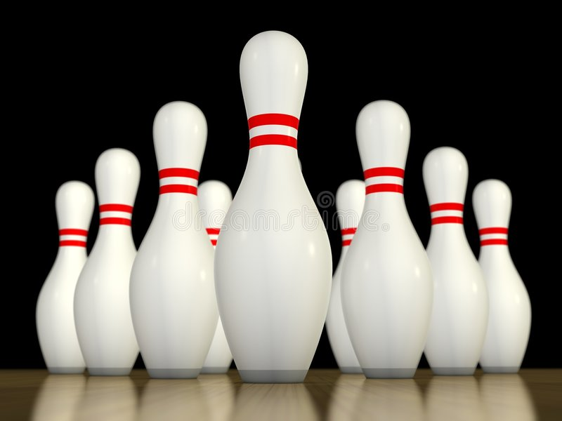 Un bowling dei dieci perni illustrazione di stock