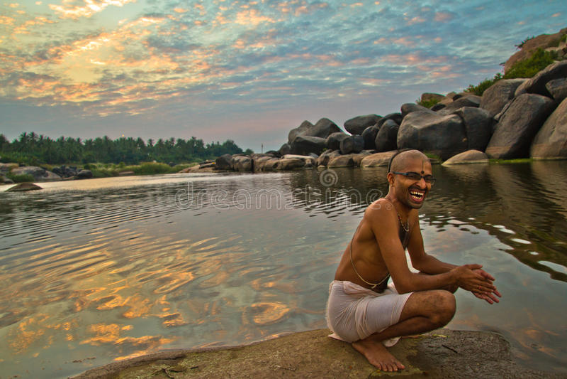 Un Brahmin de Hampi, Karnataka, Inde photo stock