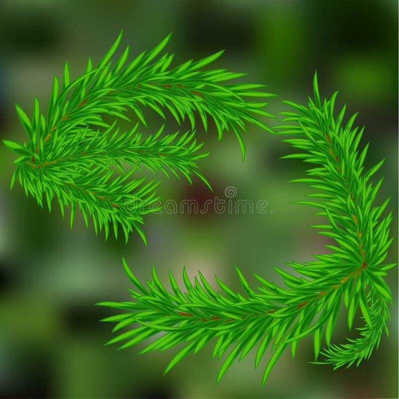 un brin des aiguilles de pin Sur un fond vert illustration de vecteur