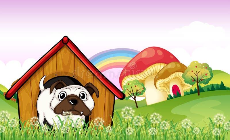 Un bulldog nel canile vicino ai funghi giganti illustrazione vettoriale