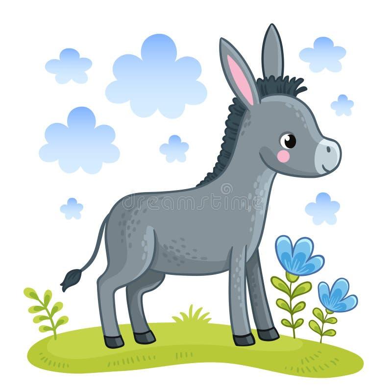 Un burro lindo se está colocando en un claro ilustración del vector