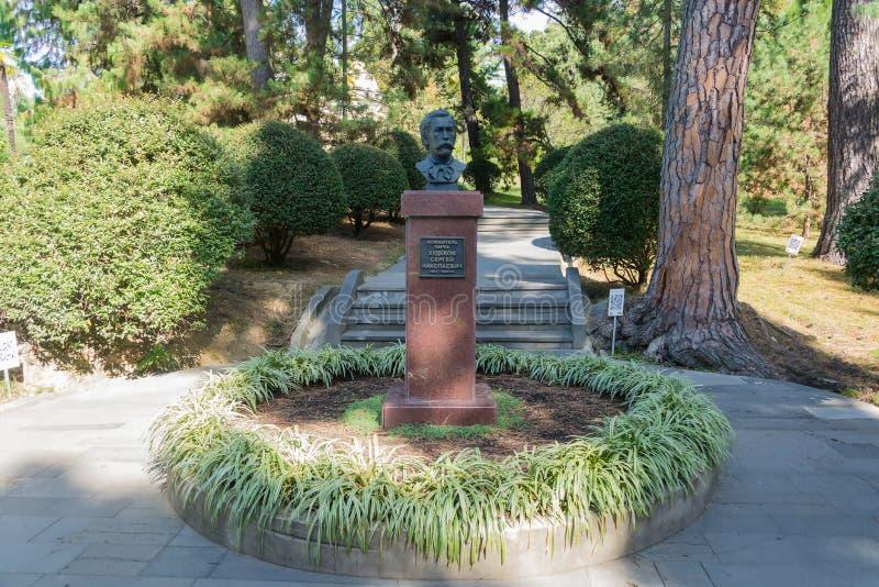 Un busto del fundador del parque de Sochi, S n Khudekov fotos de archivo libres de regalías