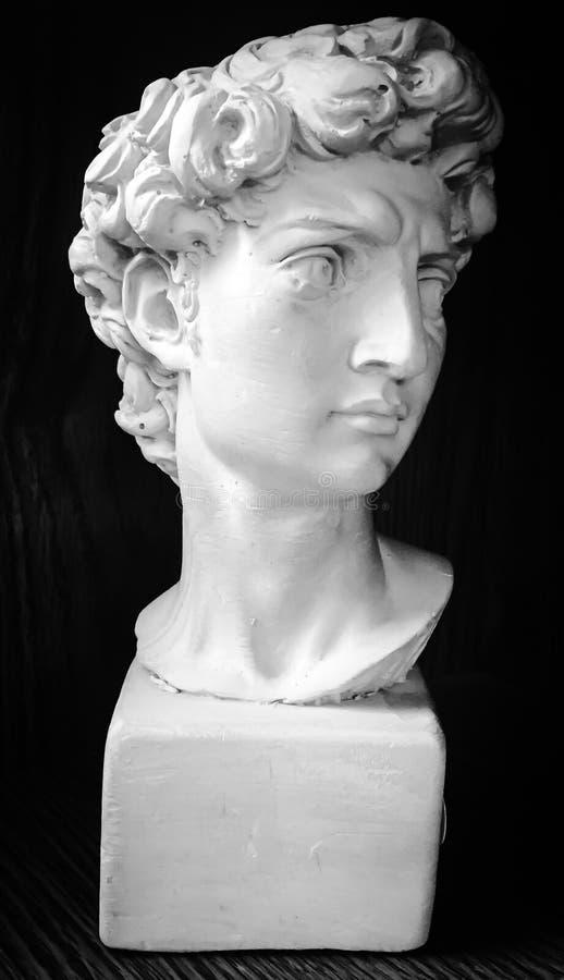 Un busto maschio della statua del gesso fotografia stock