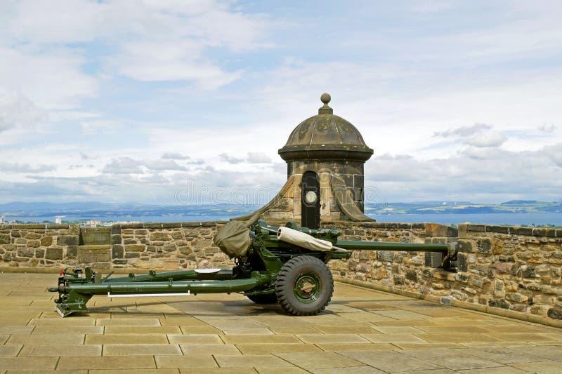 Un cañón del reloj del ` de o en el castillo de Edimburgo, Escocia imagen de archivo libre de regalías