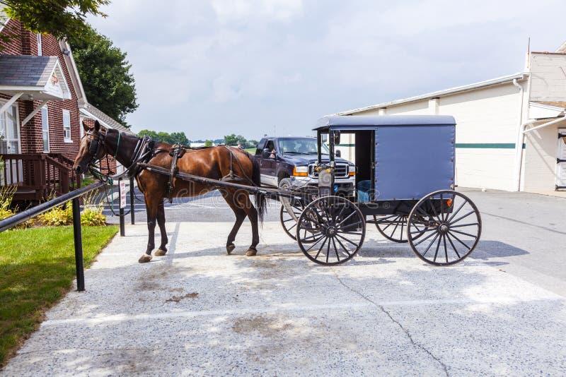 Un caballo que tira del carro de los parques de gente de Amish en un estacionamiento foto de archivo libre de regalías