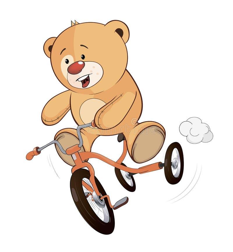 Un cachorro de oso relleno del juguete y una historieta del triciclo de niños ilustración del vector