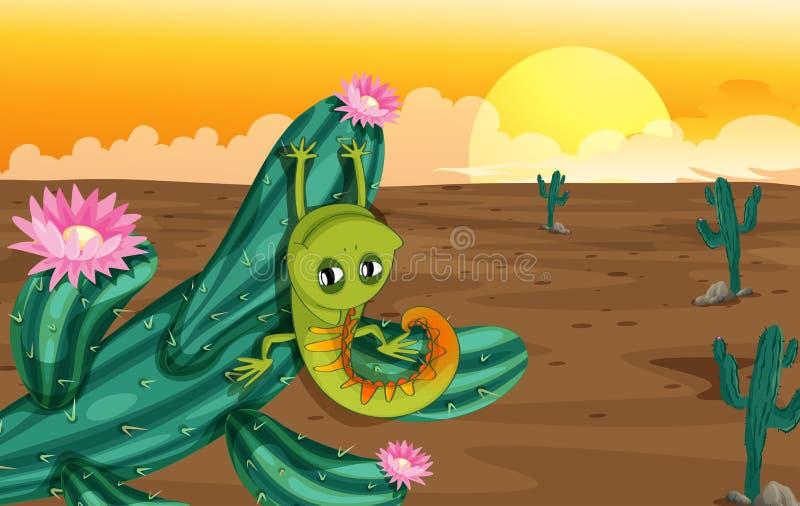 Un cactus con la lucertola illustrazione di stock