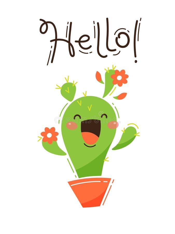 Un cactus felice vi accoglie ciao Illustrazione di vettore nello stile del fumetto illustrazione di stock