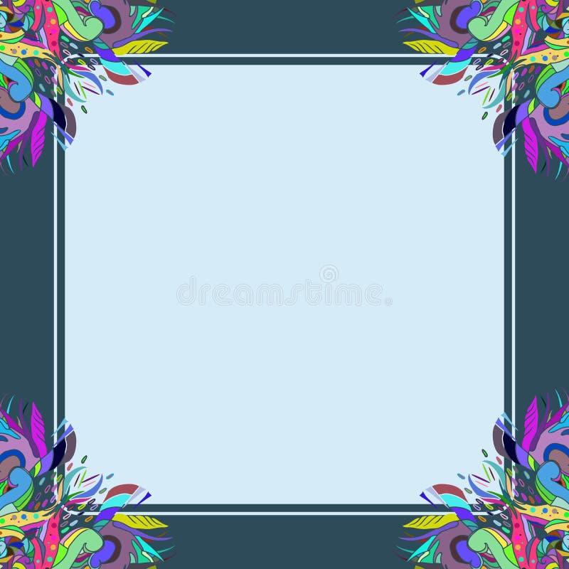 Un cadre bleu-foncé d'ornement floral photo libre de droits