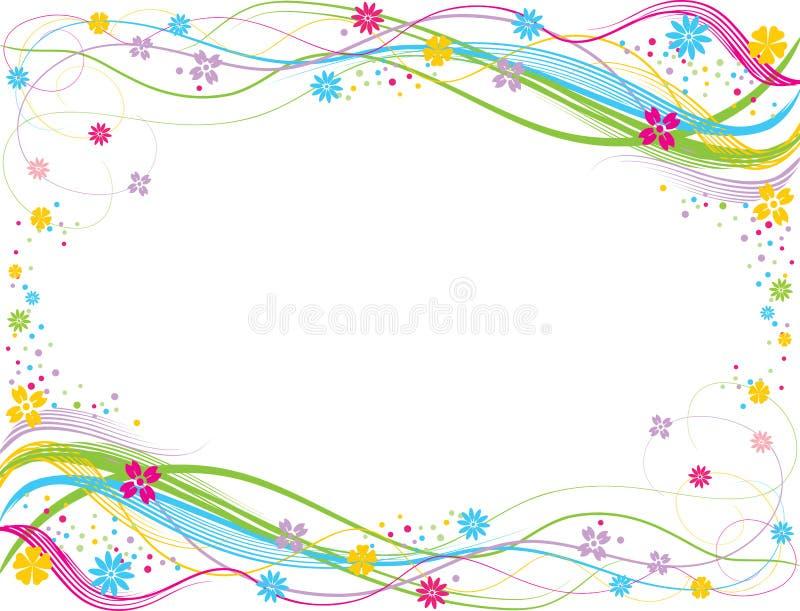 Un cadre décoratif de vecteur des lignes, des remous et des fleurs colorés illustration libre de droits