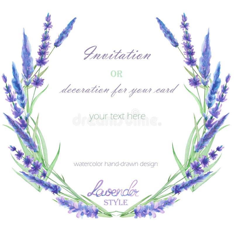 Un cadre de cercle, la guirlande, frontière de cadre avec la lavande d'aquarelle fleurit, épousant l'invitation illustration libre de droits