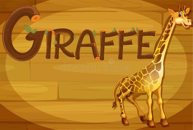 Un cadre en bois avec une girafe illustration de vecteur