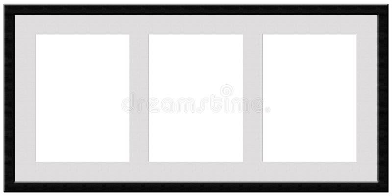Un cadre noir avec l'espace pour trois photographies illustration libre de droits