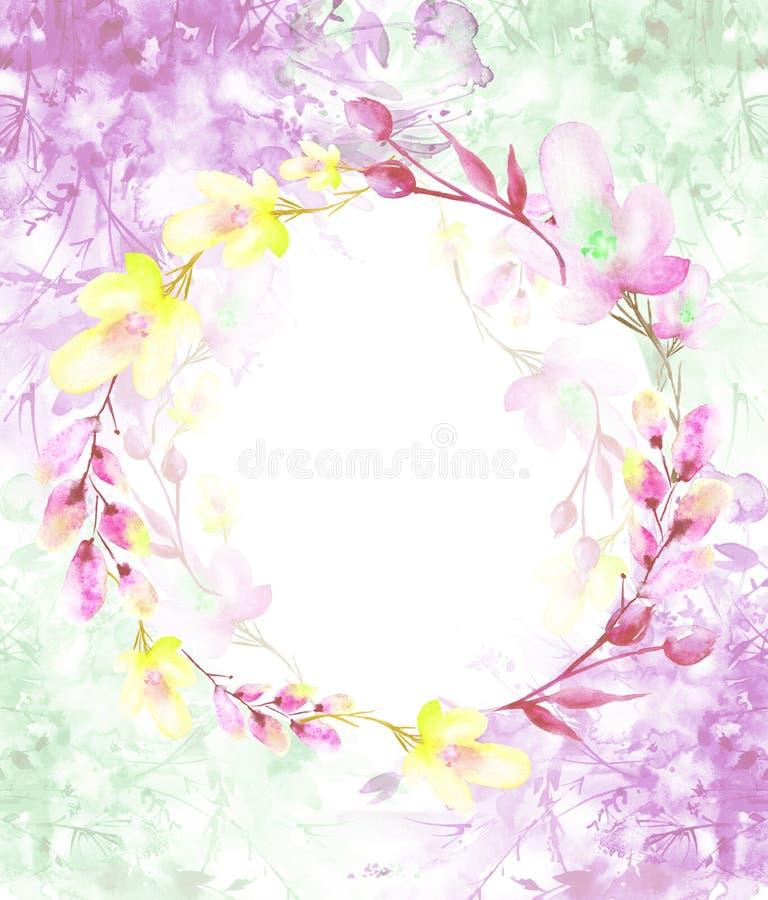 Un cadre rond d'aquarelle, une carte postale, une guirlande des fleurs, brindilles, usines, baies Illustration de cru Utilisation illustration libre de droits