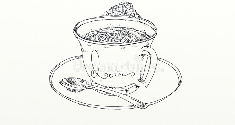 Un café avec amour illustration libre de droits