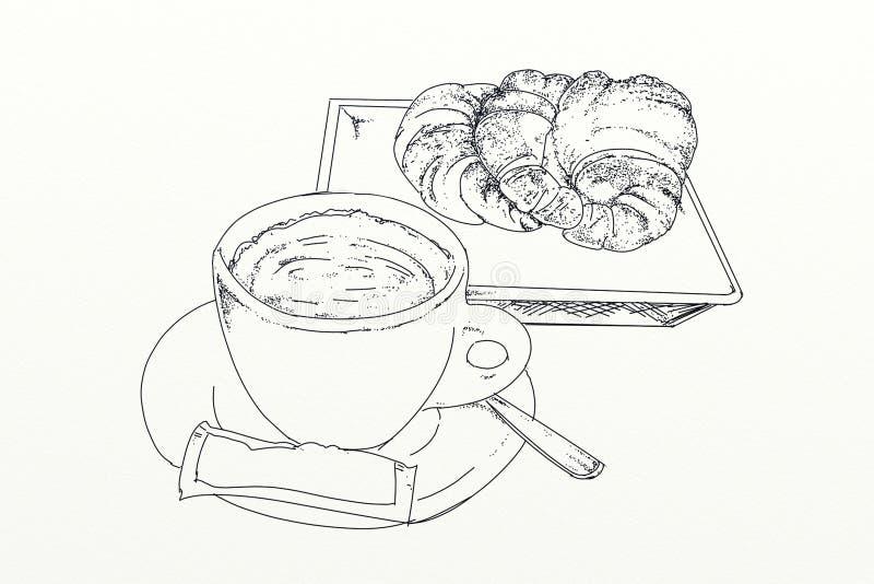 Un café avec la brioche illustration stock
