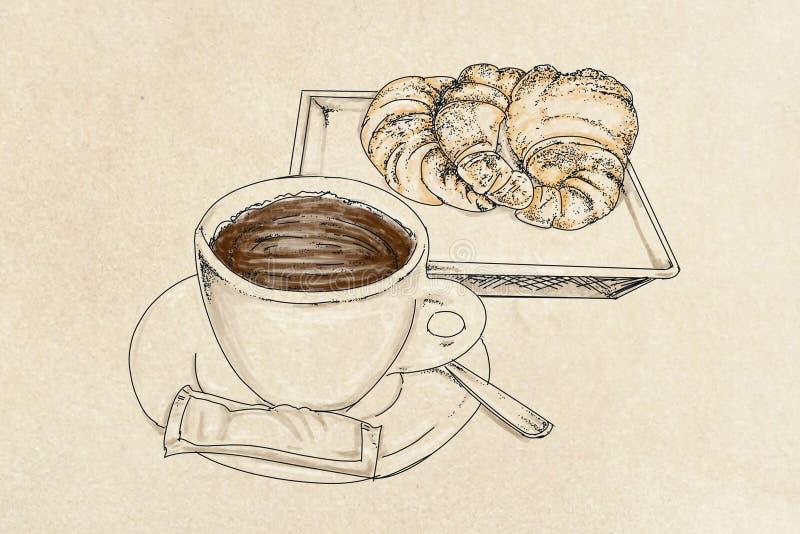 Un café avec la brioche illustration de vecteur