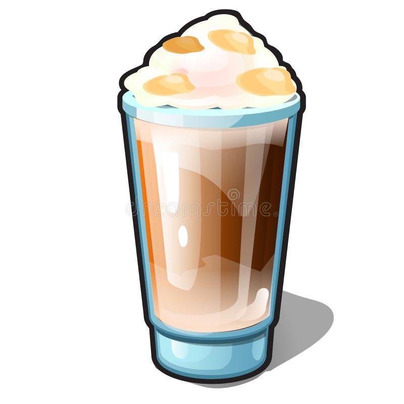 Un café helado con caramelo y crema azotada en una taza de cristal aislada en un fondo blanco Recetas de bebidas deliciosas libre illustration