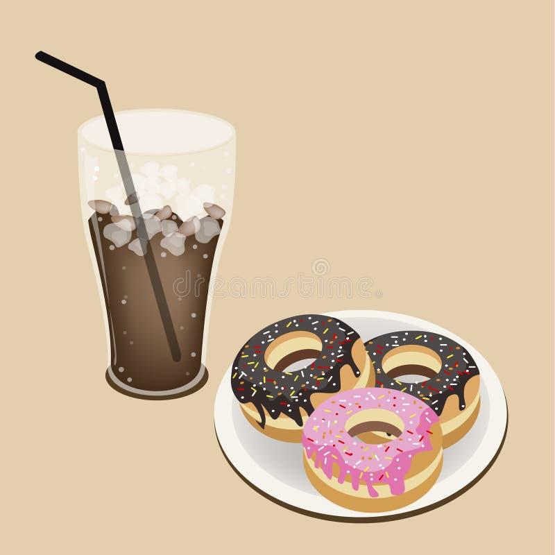 Un café helado delicioso con los anillos de espuma esmaltados ilustración del vector
