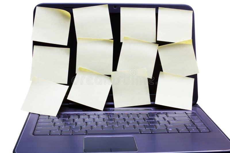 Un cahier avec beaucoup de post-it. images stock