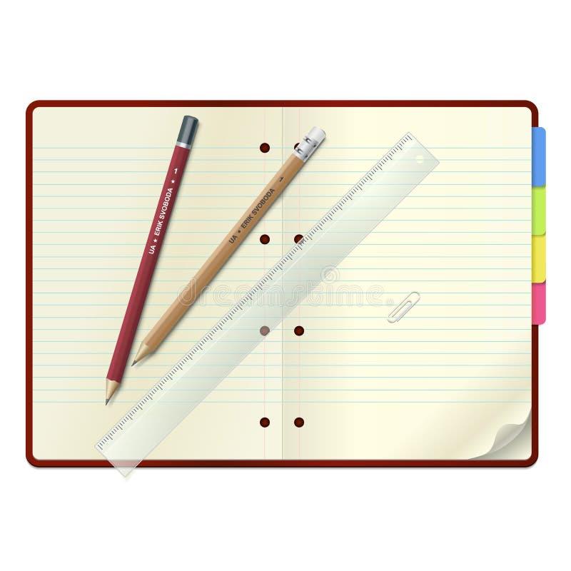 Un cahier ouvert avec les crayons et la grille de tabulation illustration de vecteur