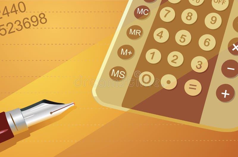 Un calcolatore e una penna illustrazione di stock