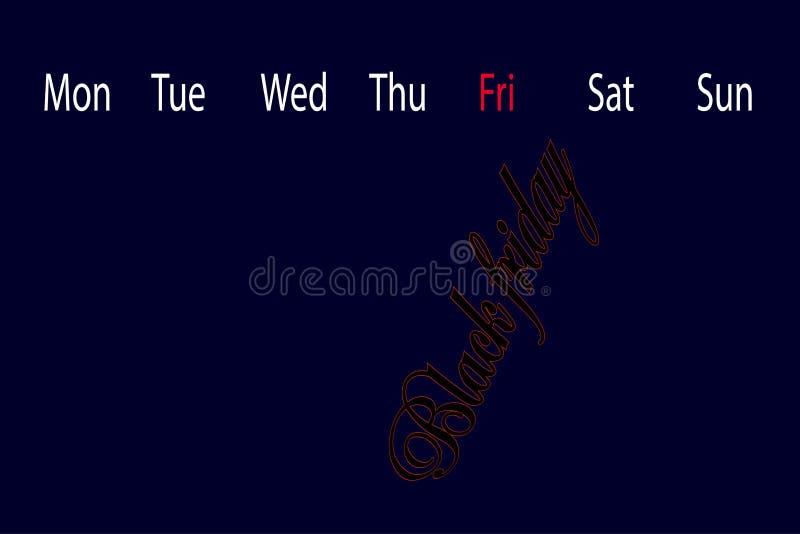 Un calendario aislado con la fecha negra de viernes marcó ilustración del vector