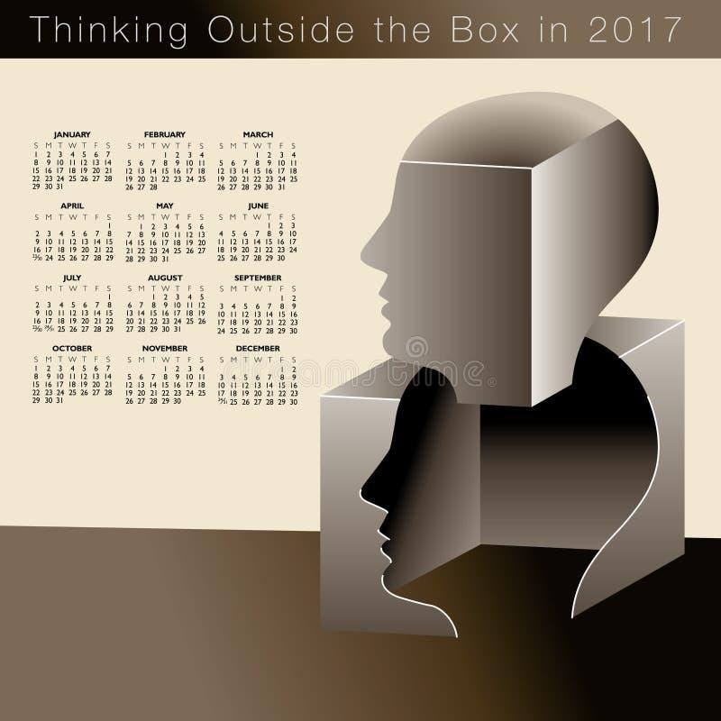 Un calendario 2017 con pensare creativo dell'uomo illustrazione di stock