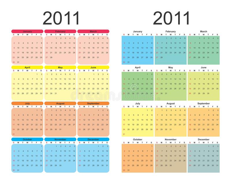 un calendario da 2011 anno immagine stock