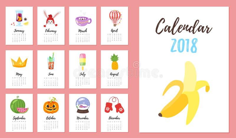 un calendario da 2018 anni illustrazione di stock