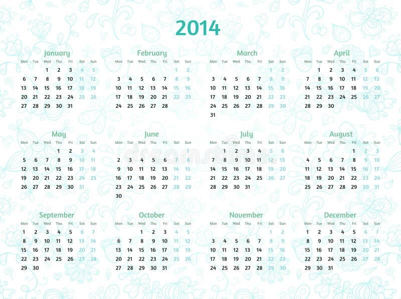 Un calendario da 2014 anni su fondo floreale modellato. royalty illustrazione gratis