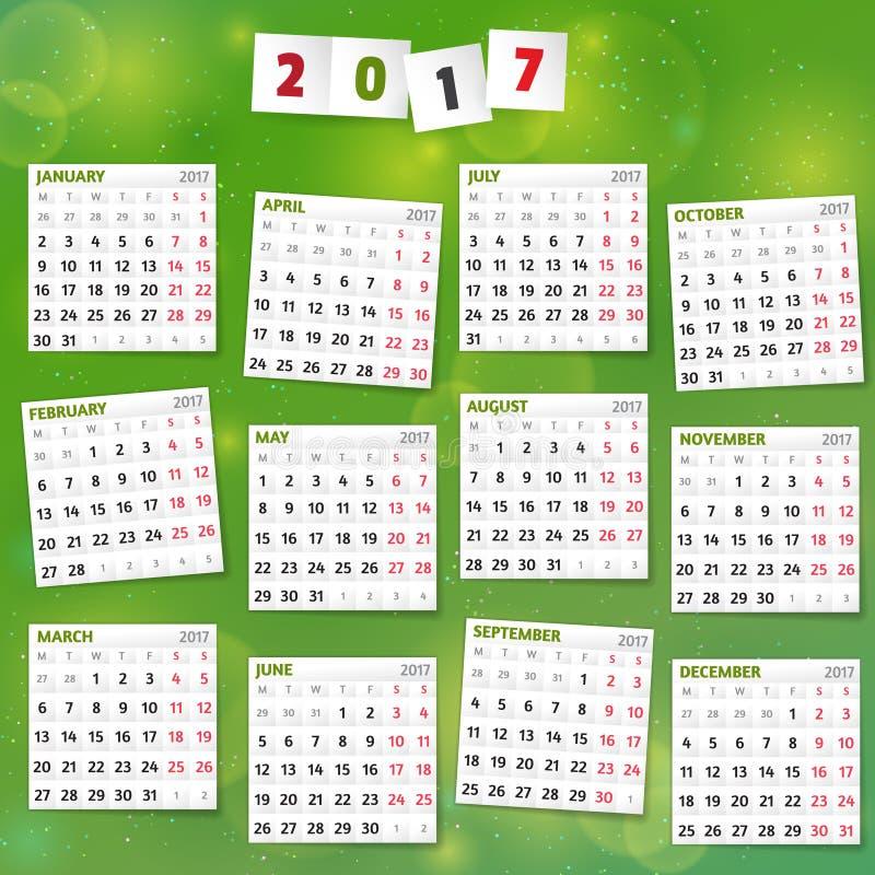 Un calendario da 2017 anni su fondo verde allegro immagine stock libera da diritti