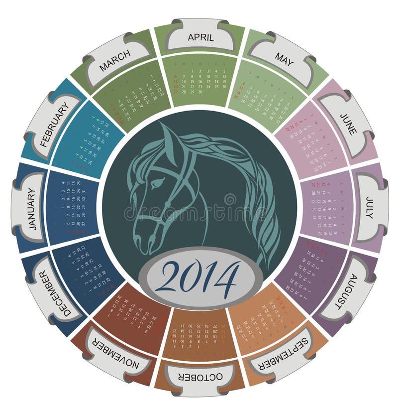 un calendario da 2014 nuovi anni illustrazione vettoriale