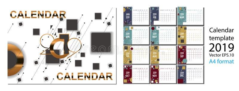 un calendario da 2019 nuovi anni con le figure geometriche del simle illustrazione vettoriale