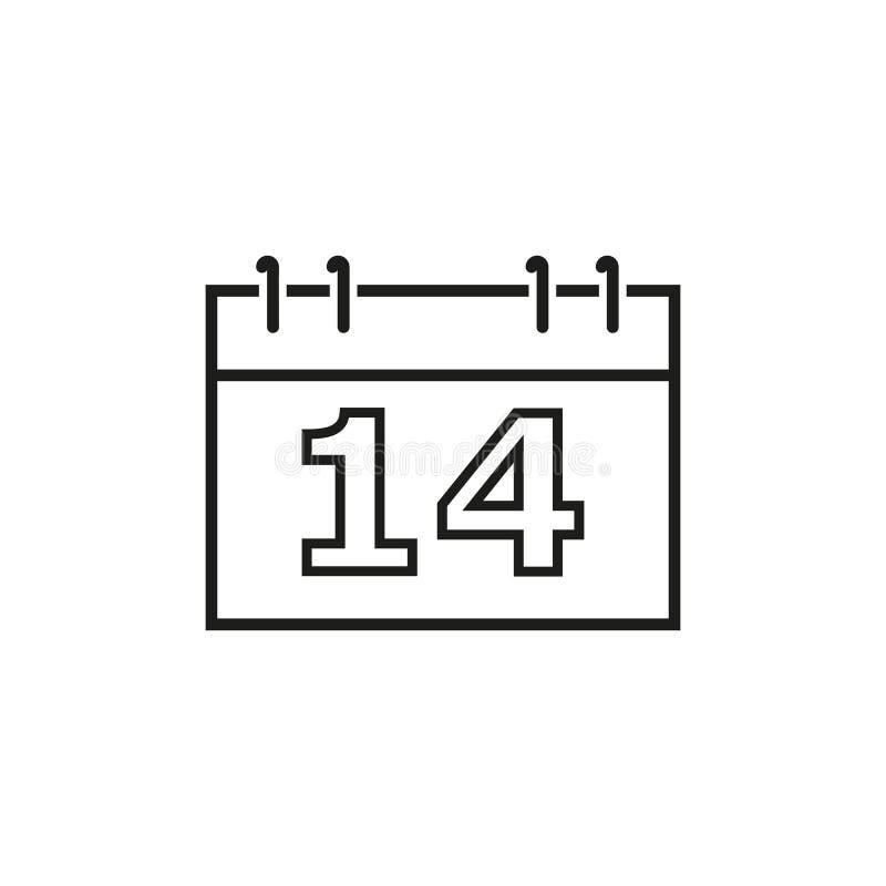 Un calendario de los iconos del día de San Valentín stock de ilustración