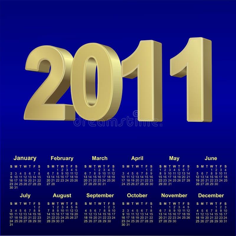 un calendario del 2011 azzurro illustrazione vettoriale