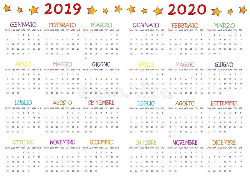 Calendario Colorato 2019-2020 Per I Bambini royalty free illustration