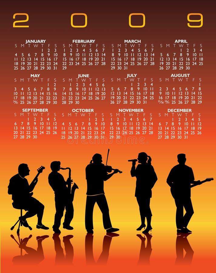 Un calendario di 2009 Musical illustrazione vettoriale