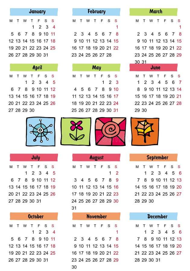 un calendario di 2009 stagioni illustrazione di stock