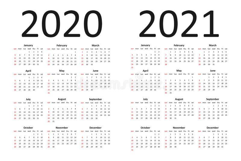 Calendario Con Le Settimane 2020.Calendario Per 2020 La Settimana Comincia Domenica