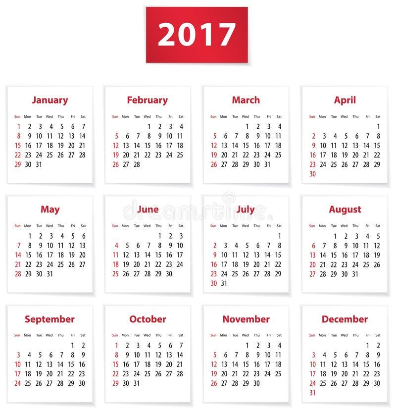 Un calendario di 2017 inglesi illustrazione di stock