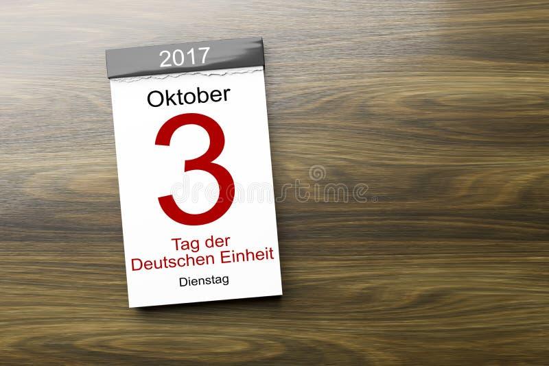 un calendario il terzo del giorno di ottobre del testo tedesco di unità in tedesco royalty illustrazione gratis