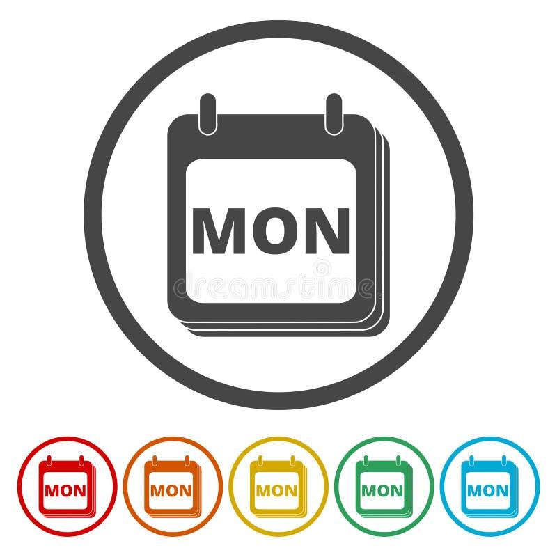 Un calendario murale con la parola lunedì Bottoni variopinti piani per l'icona del calendario di lunedì royalty illustrazione gratis