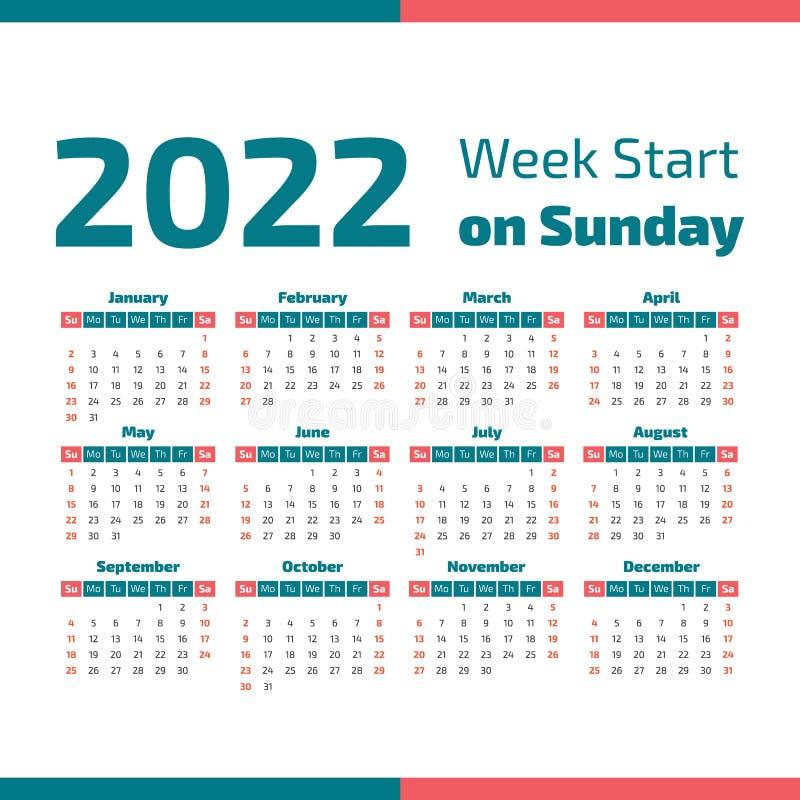Un calendario semplice da 2022 anni illustrazione vettoriale